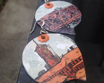Broadway Bridge and Union Station - pdx hand-painted earrings - Portland, Oregon