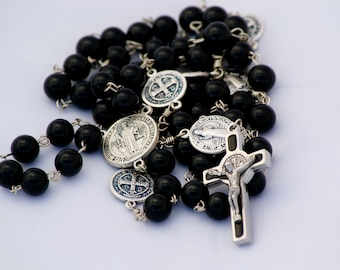 Handmade Catholic Rosary Black Onyx Gemstone with Saint Benedict Crucifix and Paters