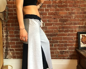 Gray and Navy soft palazzo pants-upcycled- ecoclothing wide leg- yoga pants- hippie boho- Patchwork - medium large - cotton- festival- yoga-