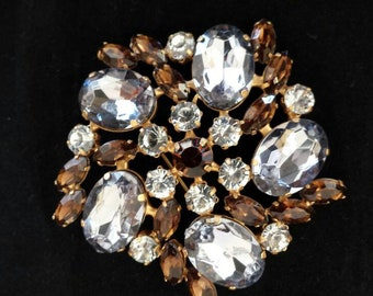 Vintage rhinestone brooch light purple faceted ovals topaz navettes clear chatons