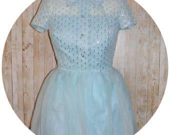 Vintage 50's 'Aldens' Sparkly Blue Rockabilly Dress Size 8/10