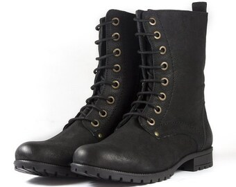 Women's Black Combat Biker Ankle Boots-Lace Up and Zip Up