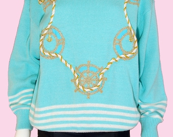 Vintage 90s Blue Nautical Sweater Sky Blue Sailor Pullover Sweater Large-XL