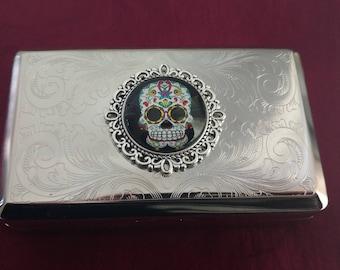 Day of the Dead Sugar Skull Dia de los Muertos silver ornateTobacco tin