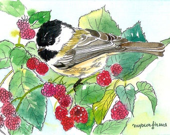 ACEO Limited Edition 1/25 - Chickadee in raspberry, Art print of an original ACEO in ink and watercolor, Gift for bird lovers