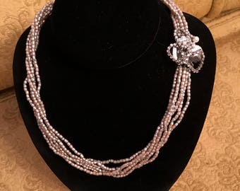 Miriam Haskell Multi-strand Faux Seed Pearl Necklace