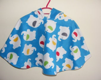 Poncho with hood, Elephant design in blue