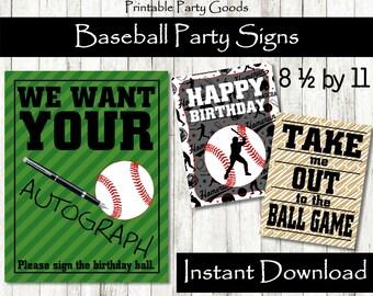 Baseball Party Signs, Table Signs, Baseball Party Decoration Baseball Party Baseball Theme Party Baseball Birthday Baseball Decoration