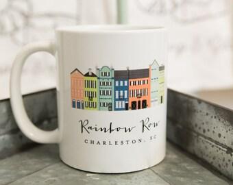 Rainbow Row, Charleston, SC Coffee Mug; Charleston Mug; Charleston, South Carolina tea