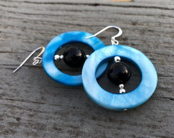 Blue circle earrings, blue shell earrings, infinity earrings, bead earrings, edgy earrings, bohemian earrings, gypsy earrings