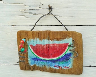 Watermelon painting, watermelon board painting, whimsical watermelon, rustic plaque, original watermelon art, kitchen art, 4 1/4x6 inches