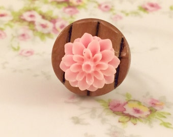 Pink Flower Ring, Cocktail Ring, Chrysanthemum Flower Ring, Pink Mum Ring, Flower on Bamboo Button Ring, Handmade KreatedByKelly