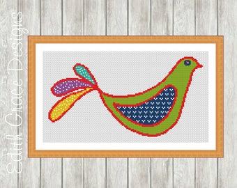 Cross Stitch Pattern - Dove - Bird Folk Art - Modern Cross Stitch Pattern - Embroidery Design - Cross Stitch Counted Chart - Animal Art