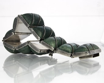 Vintage Mexican Silver Jade Bracelet 7 Inches Long Pre Eagle Mark