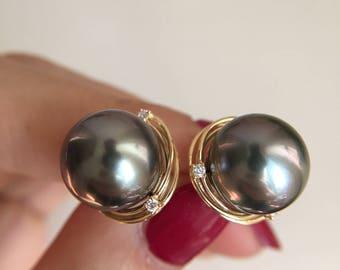 Tahitian Pearl Earrings Black Pearl Earrings Black Pearl Charm Pearl diamond jewelry