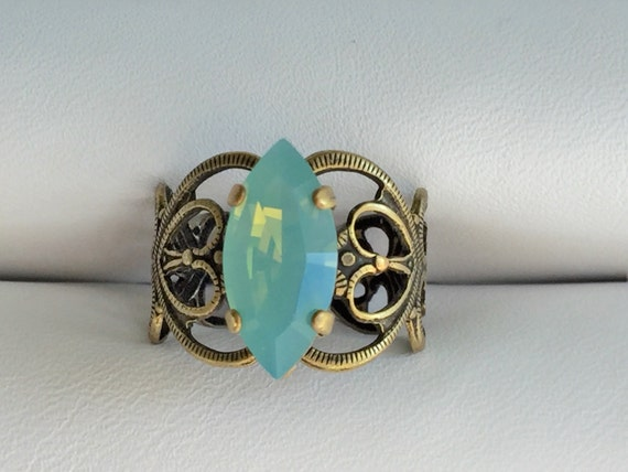 Pacific Opal Crystal Marquise Cut Adjustable Filigree Ring