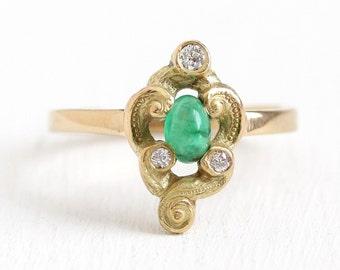 Emerald & Diamond Ring - 18k Yellow Gold Size 7 1/2 Cabochon Green Gemstone Fine Art Nouveau Jewelry - Early 1900s Edwardian Statement