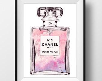 CHANEL No.5 'Pretty in Pink' Perfume Print - Original watercolor print