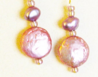 Pink Pearl Earrings Jewelry Pink Fresh Water Coin Pearl Earrings Bridesmaid Gift Pearls Gold Pierced Handmade Beaded Jewelry