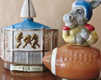 Vintage Jim Beam Whiskey Decanters, Football Hall of Fame, 1972 Commemorative Decanter, Political Democrat Decanter