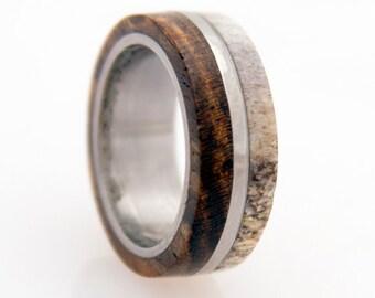 antler ring titanium ring with wood bocote deer antler band