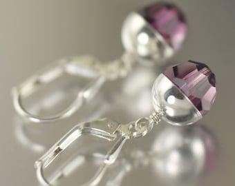 February Birthstone earrings Amethyst earrings purple earrings Swarovski crystal earrings dangle earrings  gifts for her