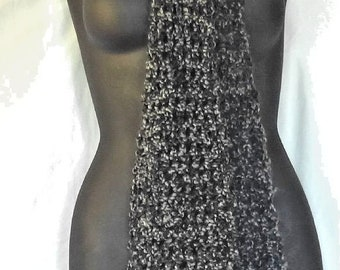 Extra Long Black and White Scarf 100x5 Inches Cowl Chunky Goth Boho Handmade Crochet knit Mans Womans Spring Unique Birthday Gift