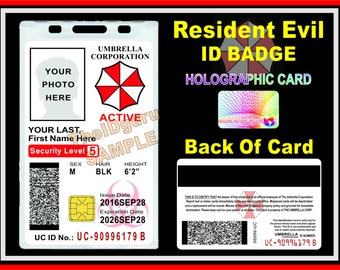 Resident Evil ID Badge / Card Prop (Holographic) ~ Custom Printed with Your Info & Photo ~ Umbrella Corporation - Genuine Chip / Mag Stripe