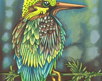 "Beautiful Bird 9 - an 8 x 10"" ART PRINT of a proud and vivdly coloured Emerald green bird with turquoise blues like clear tropical waters"