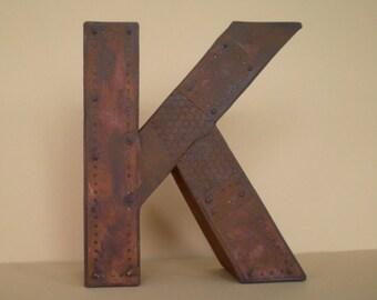 Initial, monogram 3d letter in Industrial look