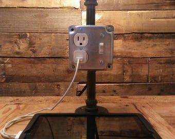 Steampunk- Steampunk lighting- housewarming gift- edison bulb lamp- table lamp- desk lamp- industrial lighting- vintage lighting- repurposed