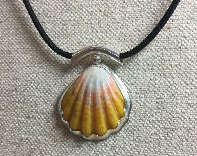 Sunrise shell set in sterling with pink pearl surprise