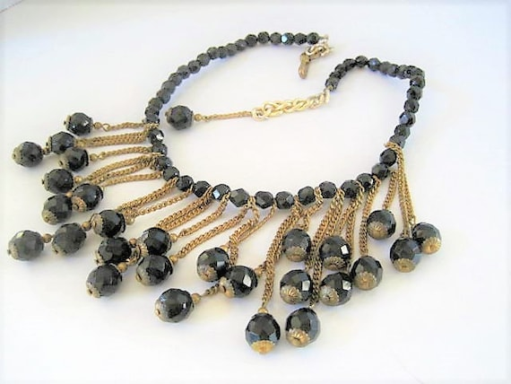 Black Jet Bead Necklace, Drippy Mad Men, Glass Beads, Boho Style, Gold Tone Metal