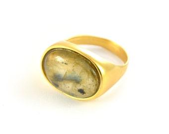 Oval Gold Solitaire Ring, gold solitaire ring, gold ring, gold ring for women, statement ring, gemstone ring, bezel ring, gemstone ring