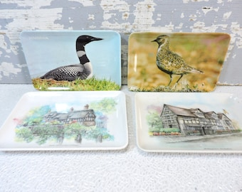 Plastic Tip Trays: Set Of 4 Vintage Miniature Colorful Birds and Shakespeare Home Anne Hathaway Cottage Food or Change Holder Drink Coaster