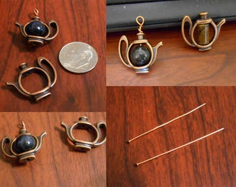 Copper Tea pot 10-11mm bead holder with a pietersite bead 2 head pins interchangeable with your beads
