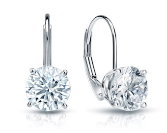 14k Gold Lever Back Round Diamond Stud Earrings 0.75 ct. tw. (H-I, I1)