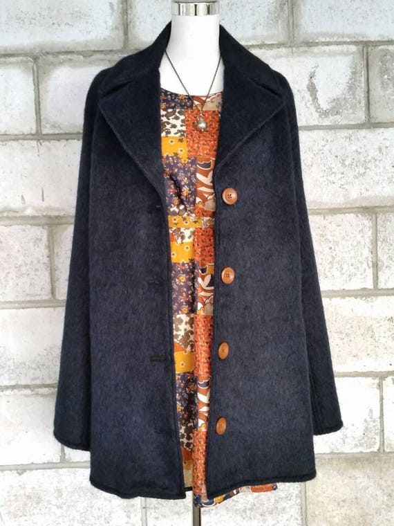 Navy Blue Wool Cape, Cloak, Coat with Collar and Pockets.