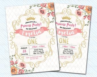 Digital Printable Crown Birthday Invitation. Girl Birthday. Princess birthday invite