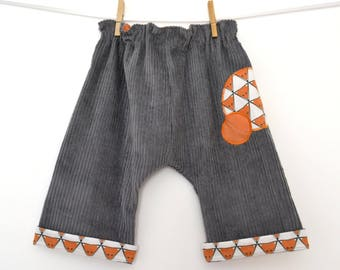 Harem baby, kids harem pants in Velvet gray ribbed (18 months)