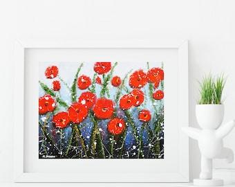 Mothers Day Gift, Flower Art Print, Red Poppy Print Wall Art, Summer Decor, Bedroom Decor