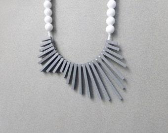 tribal geometric necklace , grey sticks and white beads , contemporary jewelry