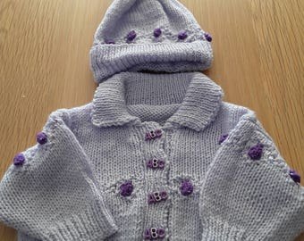 Handknit Jacket and Pom pom Hat for age 3 months plus