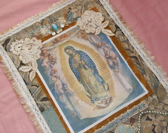 Handmade Our Lady of Guadalupe Virgin Mary Shrine Altar Devotional Folk Art Handmade Wall Hanging Retablo Fabric Collage OOAK