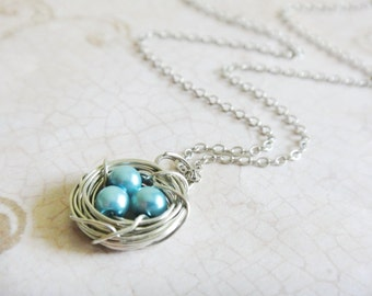 Blue Pearl Bird's Nest Necklace