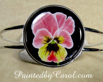 Pansy Bracelet, Pansy Jewelry, Pansy Cuff, Pansy Gifts, Pansy Lover Gifts, Pansy Bridesmaid Gifts, Pansy Wedding, Pansy Bridal
