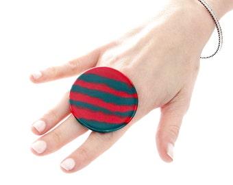 Ceramic Ring, Fall Fashion - ceramic jewelry, big ring, statement ring, adjustable ring, boho ring, tribal ring, Studioleanne
