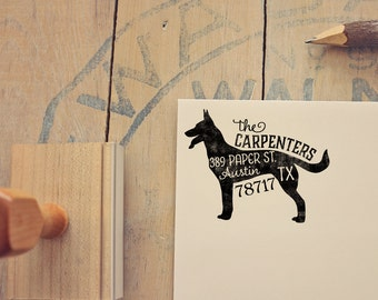 German Shepherd Return Address Stamp, Housewarming & Dog Lover Gift, Personalized Rubber Stamp, Wood Handle