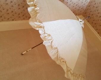 Vintage parasol re-covered in cream silk with frilled edge,wedding parasol, steampunk parasol, gothic umbrella, costume parasol