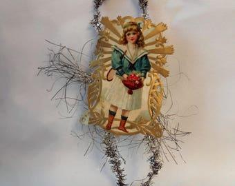 Antique Paper Lithograph Christmas Ornament